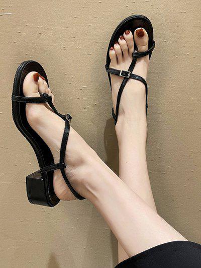 Strappy Criss-Cross Chunky Heel Thong Sandals - Black Eu 39
