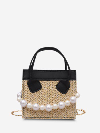 Künstliche Perle Kette Gewebte Quadratische Handtasche - Schwarz