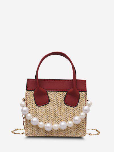 Künstliche Perle Kette Gewebte Quadratische Handtasche - Rot