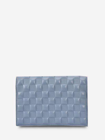 Textured Checked Chain Crossbody Bag - Sea Blue