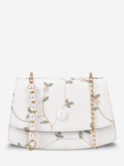 Bolso Cruzado Bordado Floral Perla Falsa - Blanco