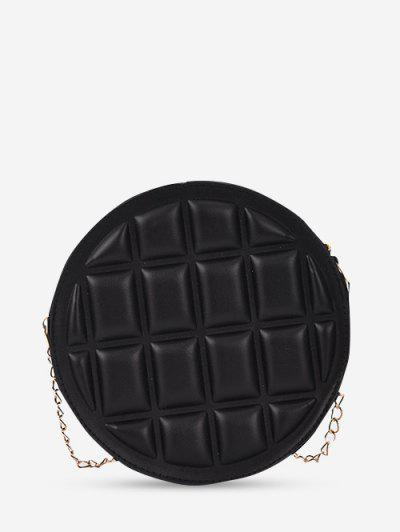 Square-Quilted Round Chain Crossbody Bag - Black