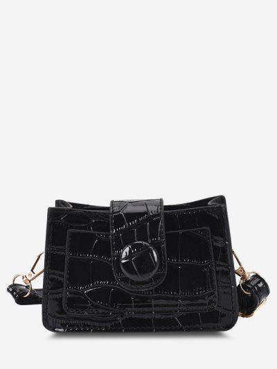 Solid Embossed Slit Pocket Crossbody Bag - Black