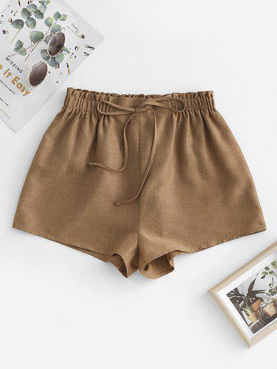 ZAFUL Pull On Paperbag Shorts - Coffee L