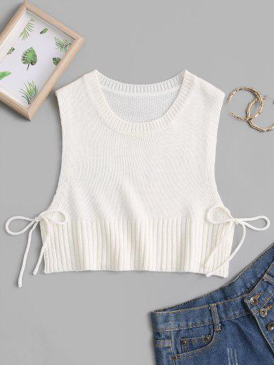 Knitted Tie Side Crop Tank Top - White L