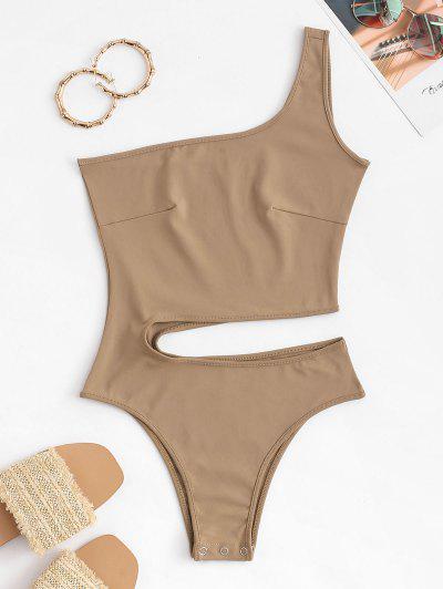 One Shoulder Cutout Bodysuit - Coffee S