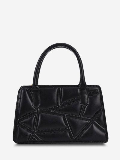 Irregular-Quilted Top Handle Chain Crossbody Bag - Black