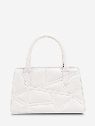 Irregular-Quilted Top Handle Chain Crossbody Bag - White