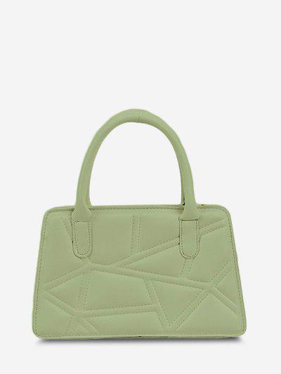 Irregular-Quilted Top Handle Chain Crossbody Bag - Green Peas