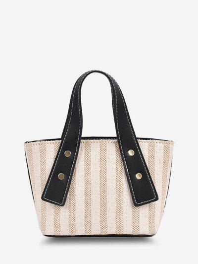 Dual Handle Woven Bucket Crossbody Bag - Night