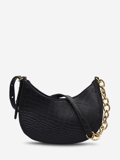 Animal Embossed Curved Half Chain Shoulder Bag - Black