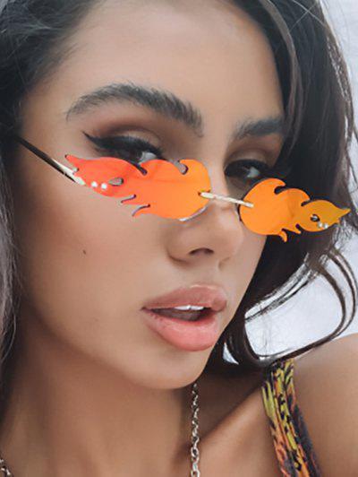 Flame Shape Rimless Metal Sunglasses - Orange
