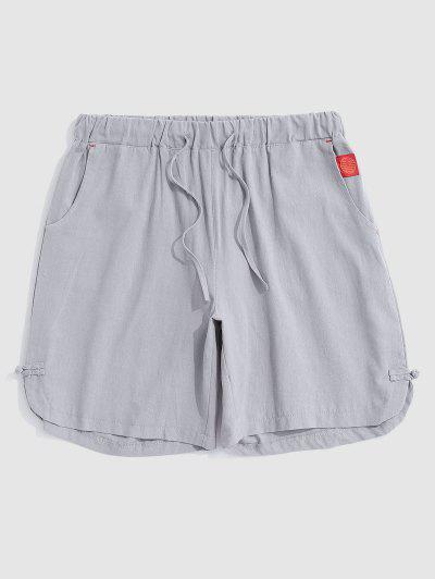 Applique Detail Frog Knot Slit Casual Shorts - Light Gray Xxl