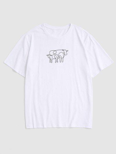 T-shirt Vache Imprimée à Manches Courtes - Blanc S