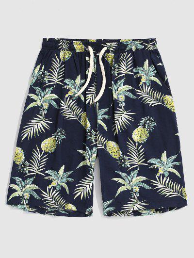 Shorts De Playa Con Estampado De Hojas De Piña - Azul Profundo Xl