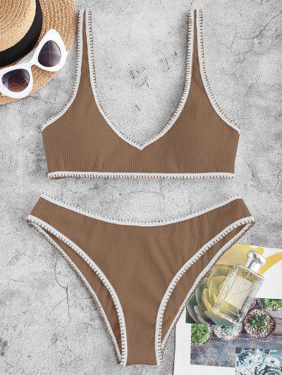 ZAFUL Gerippter Kontrast Nähte Tank Bikini Badebekleidung - Kaffee M