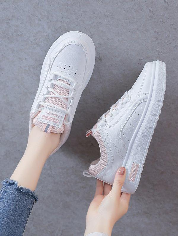 Lace-Up Colorblock Breathable Flat Sneakers