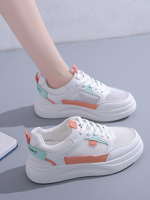 Colorblock Lace-Up Mesh Flat Sneakers