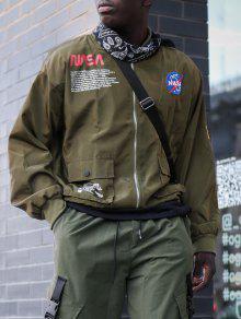 سترات ZAFUL رسالة الجرافيك التطريز العلم الأميركي زين الجيب - الجيش الأخضر M
