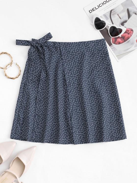 trendy Ditsy Print Mini Wrap Skirt - DEEP BLUE ONE SIZE