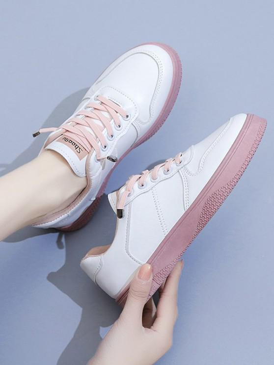 ladies Two Tone Lace Up Sneakers - PINK EU 40