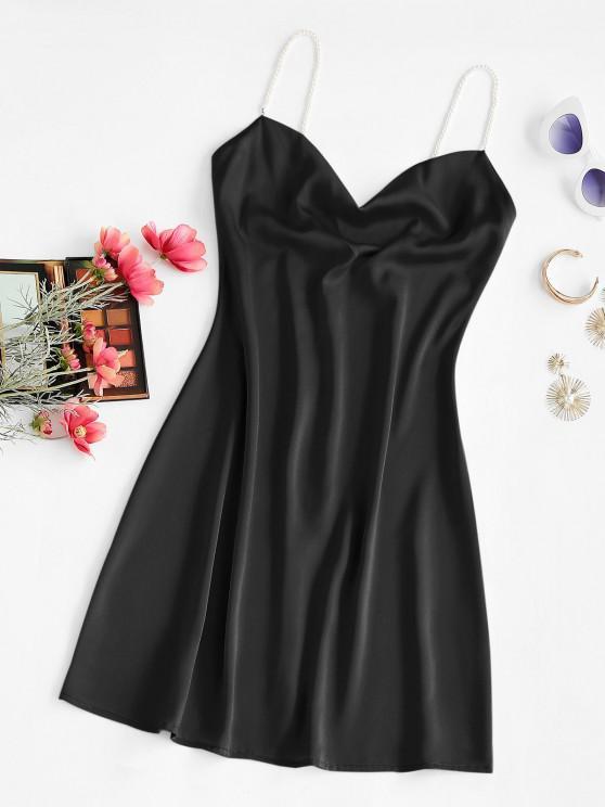 Mini Robe à Bretelle avec Fausse Perle à Col Bénitier - Noir S