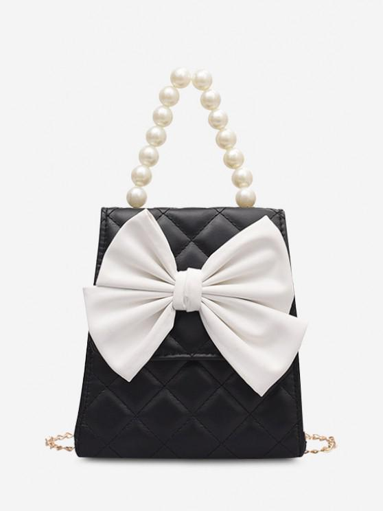 Quilted Bowknot Faux Pearl Handle Chain Crossbody Bag - أسود