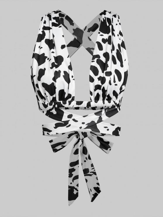 shop ZAFUL Cow Print Criss Cross Wrap Tank Top - WHITE M