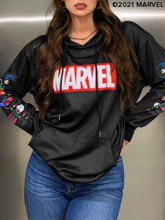 Marvel Spider-Man Spider-Girl Venom Stampa Kangaroo Pocket Con Cappuccio - Nero Xl