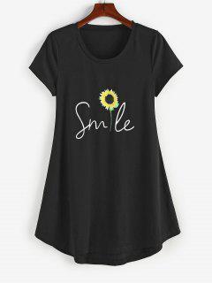 ZAFUL Sunflower Print Curved Hem T Shirt Dress - Black M
