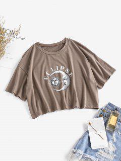 ZAFUL Sonnen Und Monddruck Crop T-Shirt - Tiefkaffee S