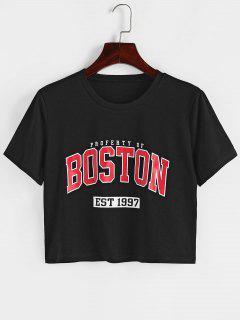 ZAFUL Letter Graphic Crop T Shirt - Black M