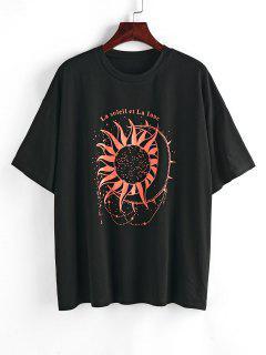 ZAFUL Sonnen Slogan Druck Übergroßes T-Shirt - Schwarz M