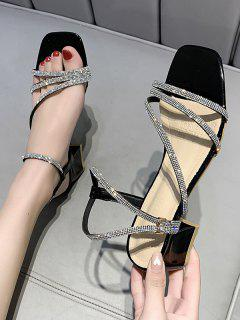Sandalias De Tacón Grueso Con Tiras De Diamantes De Imitación - Negro Eu 40