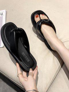 Square Toe Ruched Puffy Vamp Thong Slippers - Black Eu 37