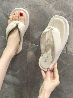 Square Toe Ruched Puffy Vamp Thong Slippers - Warm White Eu 37