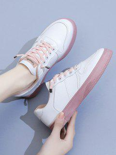 Two Tone Lace Up Sneakers - Pink Eu 39