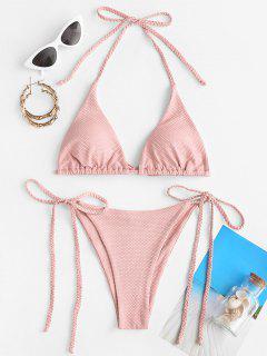 ZAFUL Braided Textured Tie Side Bikini Swimwear - Light Pink S