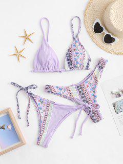 ZAFUL Tribal Print High Cut Three Pieces Bikini Swimsuit - Light Purple L