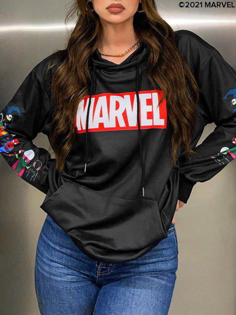 Marvel Spider-Man Spider-Girl Venom Druck Känguru-Tasche Hoodie - Schwarz M Mobile