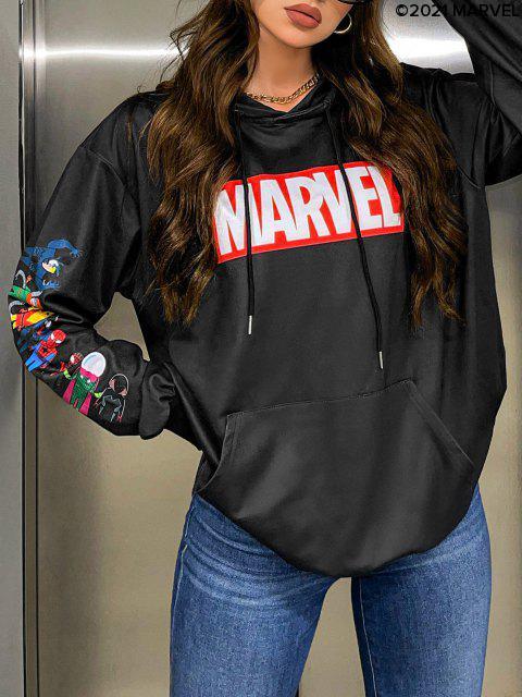 chic Marvel Spider-Man Spider-Girl Venom Print Kangaroo Pocket Hoodie - BLACK XL Mobile