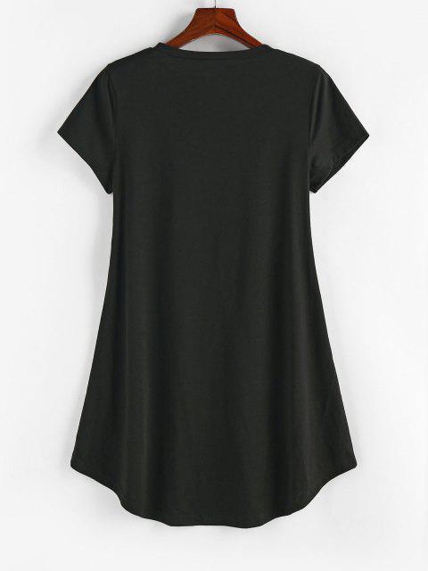 ZAFUL Robe Chemise Tournesol Imprimé à Ourlet Courbe - Noir S Mobile
