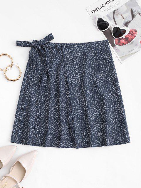 trendy Ditsy Print Mini Wrap Skirt - DEEP BLUE ONE SIZE Mobile