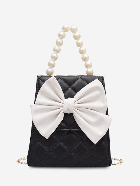 Gesteppte Bowknot Künstliche Perle Griff Umhängetasche - Schwarz  Mobile