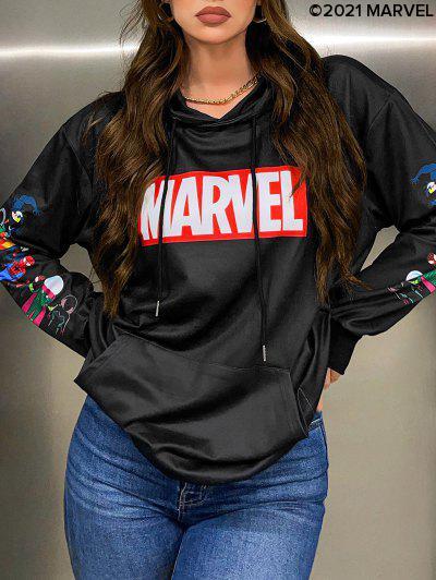 Marvel Spider-Man Spider-Girl Venom Print Kangaroo Pocket Hoodie - Black M
