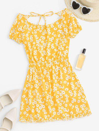 Daisy Floral Cutout Backless Tied Dress - Yellow L