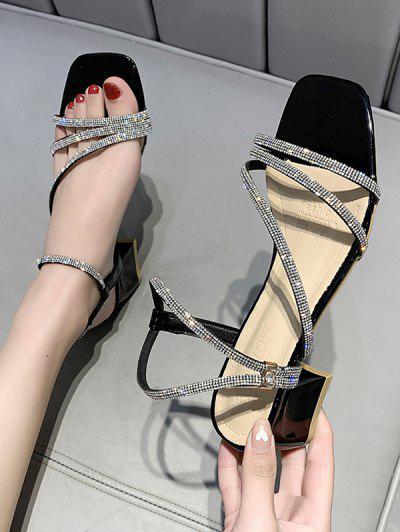 Rhinestone Strappy Square Toe  Chunky Heel Sandals - Black Eu 39