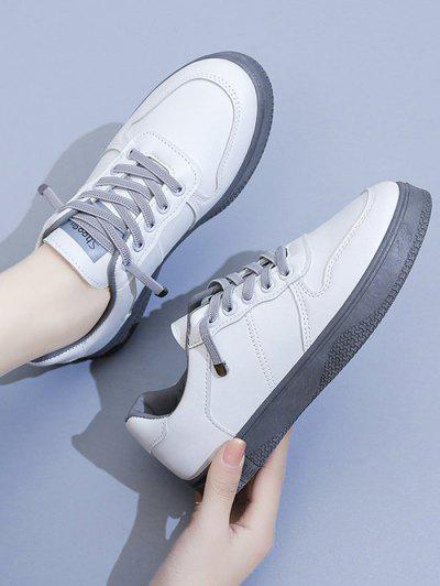 Two Tone Lace Up Sneakers - Gray Eu 37