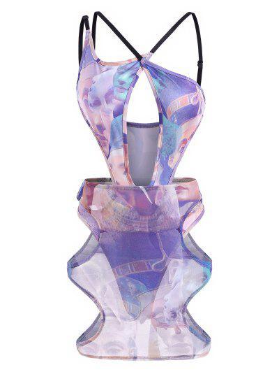 Conjunto Bodysuit Escotado Estampado Figura Y Falda Malla - Multicolor M