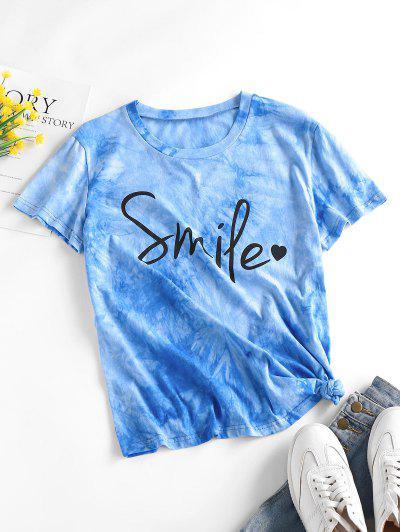 ZAFUL Smile Heart Tie Dye T Shirt - Light Blue S